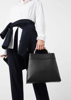 Metallic handle tote bag | MANGO