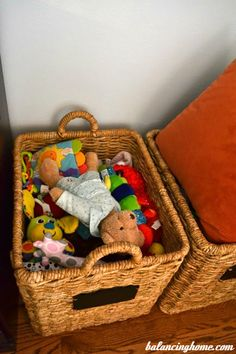 toy storage--use blankets and pillow to cover up toys in open baskets in the living room!