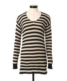 Get cozy by the fire in this striped open knit sweater.  → Hazel Stripe   KISMET