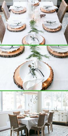 Beautiful wood charger plates! These wood slices are a huge hit for holiday table decor. | Thanksgiving table decor, Christmas table decor (affiliate)