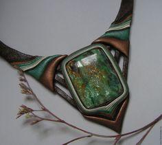 Купить Колье из кожи с фукситом. - комбинированный, зеленый, бронзовый, коричневый, украшения ручной работы