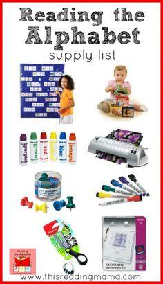 Reading the Alphabet Supply List - This Reading Mama