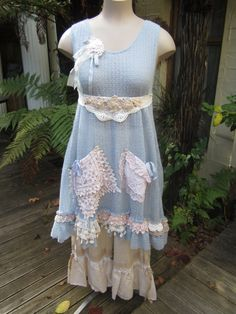 RESERVED for ANITALUV54 ... vintage kitty tunic...  soft pale blue.. ooak.. lace, roses, doilies, crochet.. med - xl. $165.00, via Etsy.