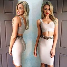 """@Gabby Meriles Epstein's photo: """"❤️ a nude two-piece. Bandage crop and skirt from @dollhouse_xoxo #dollhouse_xoxo #dollhousexoxo #dollywood"""""""