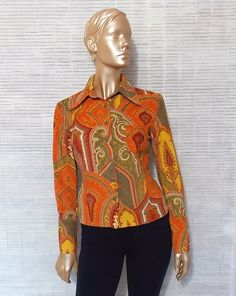 Vintage corduroy shirt burnt orange olive green red by IuSshop