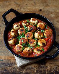 Chicken and Sun-Dried-Tomato Meatballs  - Fast Dinner Recipes from Food & Wine