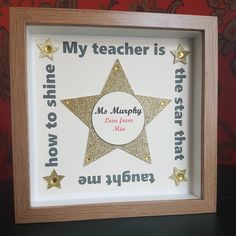 Teacher Star Teach Shine Quote Gift Present Keepsake Canvas Memory Personalised