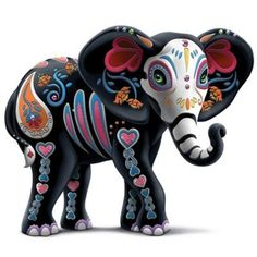 A FIRST! Limited-edition Blake Jensen elephant figurine inspired by ancient sugar skull art. Handcrafted and hand-painted, with faux gems and glitter. #figurines