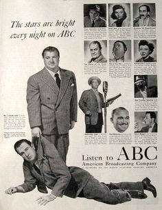 1948 Radio Stars | 1948 ABC American Broadcasting Co. Radio Shows Ad ~ Abbott & Costello ...