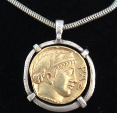 Caesar Augustus Coin Medallion Pendant Necklace by Vintbijoux