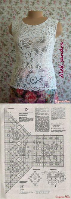 CARAMELO DE CROCHET: blusa en filet zig zag