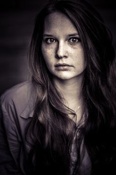 Freckled beauty, portrait photography, freckles, black and white, hair, beauty