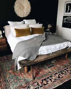 Dark navy paint and cozy decor