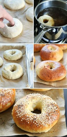 Easy No Rise Gluten Free Bagels. No planning necessary! - These no rise gluten free bagels are made with yeast, but still ready in about 40 minutes because there's no rise at all. No planning necessary! Bagels Sans Gluten, Foods With Gluten, No Gluten Diet, Gluten Free Cooking, Dairy Free Recipes, Gf Recipes, Vegan Gluten Free Bread, Keto Bread, Cooking Food