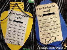 I can light up the world bulletin board writing idea! Relate to superhero theme Counseling Bulletin Boards, Counseling Activities, Writing Activities, Classroom Activities, Christmas Activities, School Social Work, School Fun, High School, December Bulletin Boards