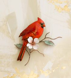 Handcrafted Cardinal on Dogwood Branch Wall Sculpture