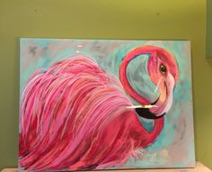 Sold, happy to create something similar! Fabulously Flirty!!! This outrageously feathery flamingo bad every rich and happy shade of pink nestled in her feathers! Done on a canvas with minty blues and taupe as a backdrop. Finished in a glassy overlay 40 x30