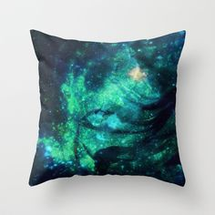 Turquoise Stars and Ribbons Throw Pillow