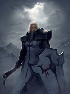 Frontal view of heavily armored character. warrior style character with a shield, but the twist of a flail in the other hand. the shield is also similar to a paladin with blood marks to show the experience of battle. High Fantasy, Fantasy Rpg, Medieval Fantasy, Fantasy Artwork, Fantasy World, Dnd Characters, Fantasy Characters, Female Characters, Female Armor