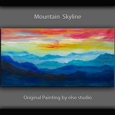 Original Abstract Painting mountain art large Oil Painting, blue skyline Landscape Painting Rising Sun by tim lam 48x24x1.3