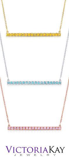 VictoriaKay 7/8ct Gemstone Fashion Horizontal Bar Drop Pendant $75-$120 http://www.amazon.com/VictoriaKay-Sapphire-Fashion-Horizontal-Pendant/dp/B00K59PAHY/