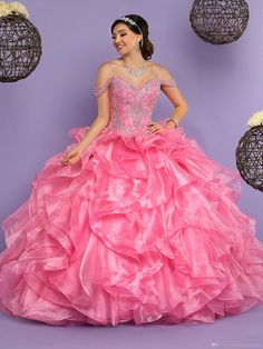 4f495bec8f Hot Pink Quinceanera Dresses 2017 with Free Bolero Ruffles Organza Sweet 15 Dress  Melon Water Color Bling Bling Shiny Rhinestones
