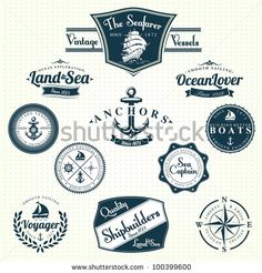 Set Of Vintage Retro Nautical Badges And Labels by Oros Gabor, via ShutterStock