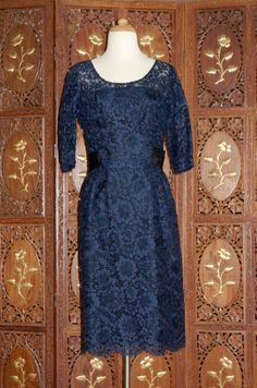 Vintage 1960s Midnight Blue Venetian  Lace Cocktail  Dress.