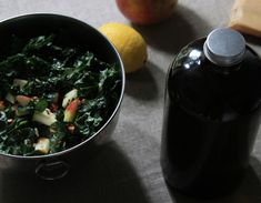 raw kale salad with apples and almonds