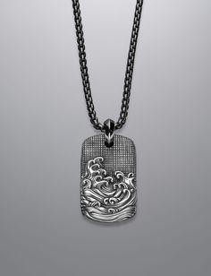 David Yurman: 34x20mm Waves Tag Necklace