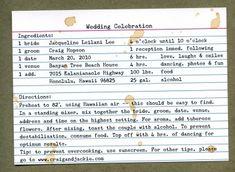 Recipe Card Invitation