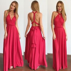 Mura Boutique Pinot Noir Dress (NEVER WORN) Elegant red dress very comfortable material, you can style the top of the dress as you please as you can see in the photo! Mura boutique Dresses Maxi