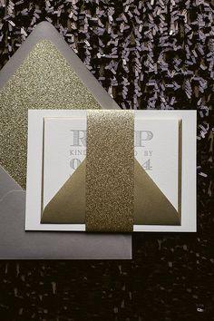 Light Grey  Gold Letterpress Wedding Invitation, grey and gold wedding, glittery wedding invitation, metallic gold wedding, glitter envelope liner, new years wedding
