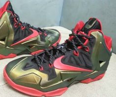 THE SNEAKER ADDICT: Nike Lebron 11 Gold/Red Sneaker (Detailed Images)