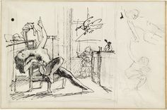 Balthus - Study for Nude with Cat, c. 1949 [The Museum of Modern Art, New York]