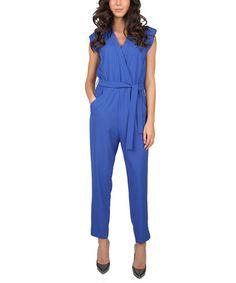 Look at this #zulilyfind! Royal Blue Cap-Sleeve V-Neck Jumpsuit #zulilyfinds