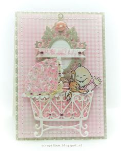 Cute New Baby card using Marianne Design cutting dies and stamp set - http://cuddlybuddly.com/shop/v18260-marianne-design-collectables-cutting-dies-clear-stamps-elines-baby-col1313/