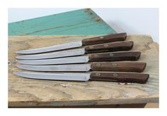 5 Vintage Ekco Flint Vanadium Steak Knives . Stainless Steel . U.S.A. . Ekco Steakster by 13thStreetEmporium on Etsy