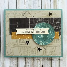 by Alisa: Going Global stamp set, Going Places dsp stack, World Traveller embossing folder - all from Stampin' Up!