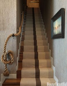 Heavy rope in place of traditional railing. Design: Thom Filicia.