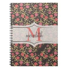 Shabby Chic Vining Roses Personalize Monogram Spiral Note Books