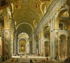 Interior Of St. Peter's - Rome 1750Painting by Giovanni Paolo Panini