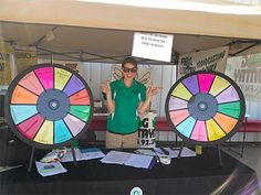 Check out the dueling Prize Wheels that Frog Country 92.3 FM (WJMQ) had going during the Shawano County Fair. (http://PrizeWheel.com/products/tabletop-prize-wheels/tabletop-black-clicker-prize-wheel-12-slot/)