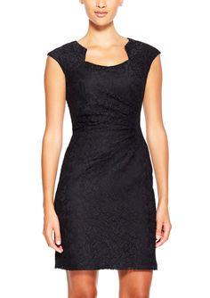 ideel | TAHARI ARTHUR S. LEVINE Lace Overlay Dress with Cap Sleeves