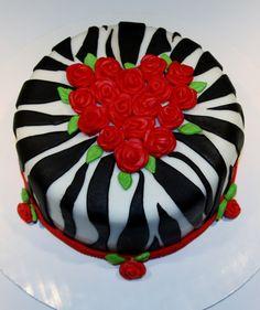 wild zebra valentine cake