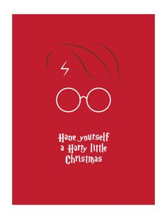 """Harry Potter Christmas Card Merry Christmas """"Have yourself a Harry little Christmas"""" Christmas Greeting Minimalist Harry Potter Card by TheThanksShop on Etsy"""