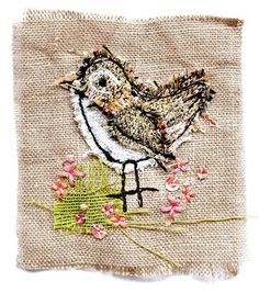 mini wren, textile art by sarah dodd (lotus blossom) Bird Applique, Embroidery Applique, Embroidery Stitches, Embroidery Designs, Fabric Birds, Fabric Art, Fabric Scraps, Freehand Machine Embroidery, Free Motion Embroidery