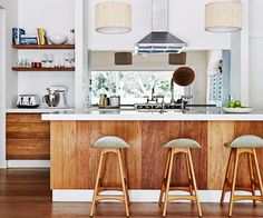 Timber kitchen - like how it's warm, but bright and yet somewhat modern