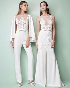 Bride to the left, bride to the right! reimagine your look with Georges… Bride to the left, bride to the right! reimagine your look with Georges Hobeika's illusion neckline or killer caped – tap link in bio to PreO now! Wedding Robe, Wedding Pants, Wedding Attire, Wedding Gowns, Modest Wedding, Trendy Wedding, Perfect Wedding, Ball Dresses, Ball Gowns