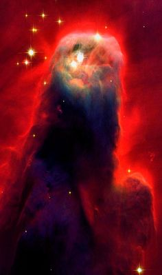 The Cone Nebula Hubble Space Telescope Images, NASA Space Mission Image The cone's shape comes from a dark absorption nebula consisting of cold molecular hydrogen and dust in front of a faint emission nebula containing hydrogen ionized by S Monocerotis,